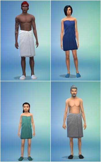 полотенца, завязанные на бёдрах sims 4