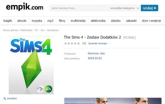 Вторая коллекция The Sims 4 в польском интернет магазине Empik