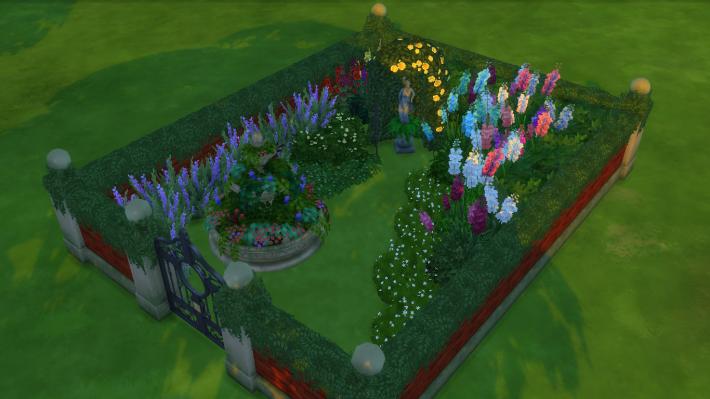 the sims 4 романтический сад стилизованный дворик 3