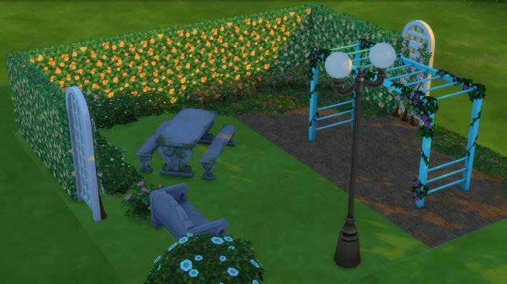 the sims 4 романтический сад стилизованный дворик 2