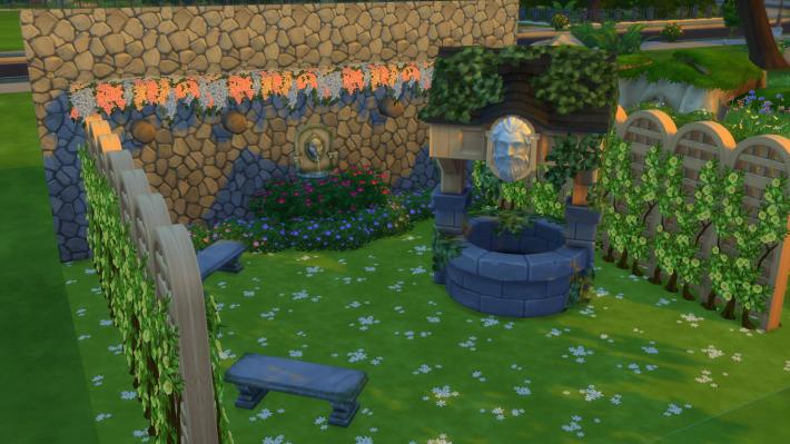 the sims 4 романтический сад стилизованный дворик 1