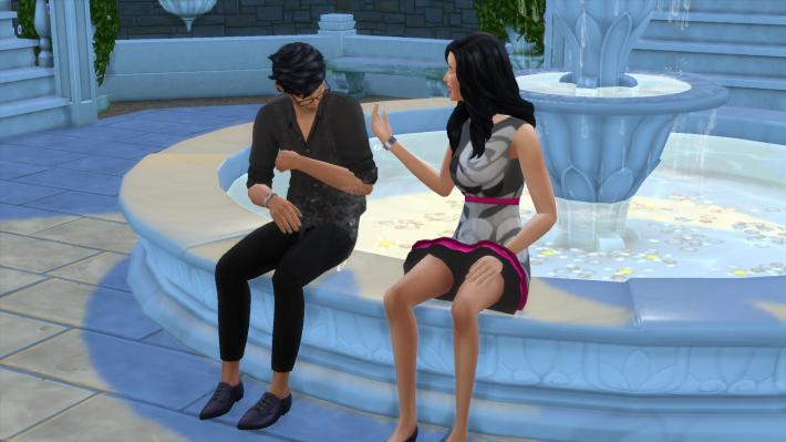 the sims 4 романтический сад брызгаться водой из фонтана