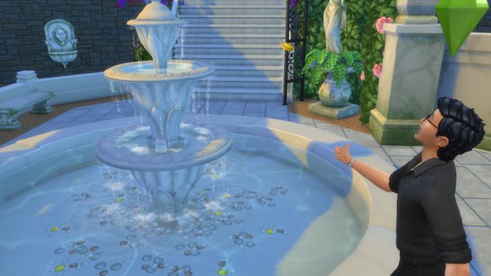 the sims 4 романтический сад кинуть монетку в фонтан