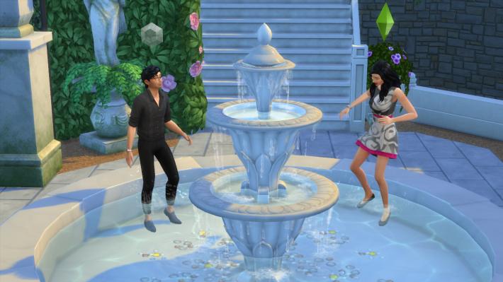 the sims 4 романтический сад играть в фонтане