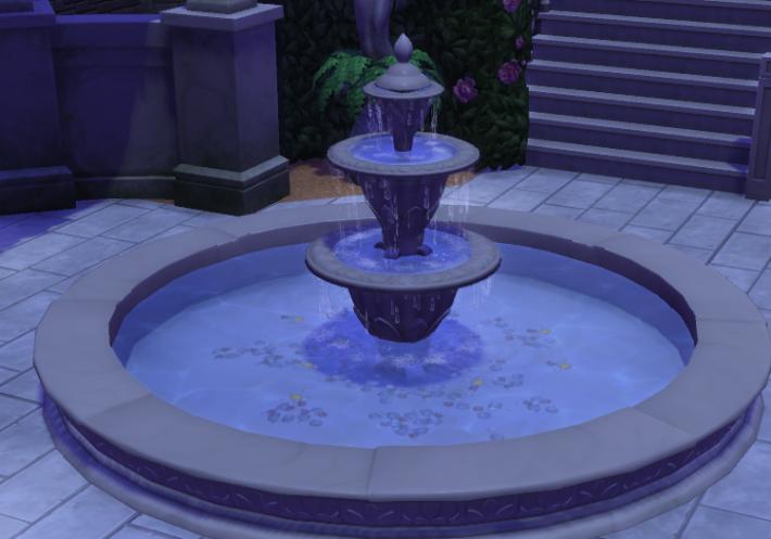 the sims 4 романтический сад фонтан ночью