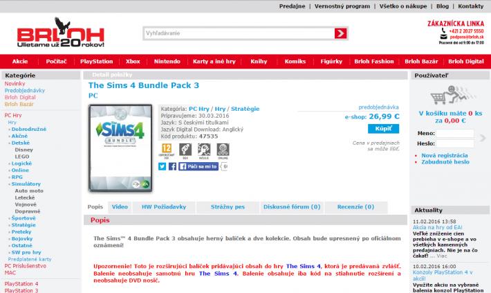 Третья коллекция The Sims 4 в словацком интернет магазине BRLOH