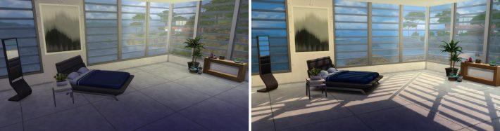 сравнение улучшенного освещения the-sims-4