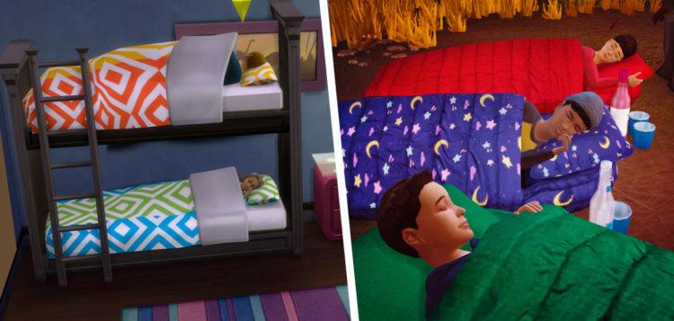 двухъярусные кровати и спальные мешки